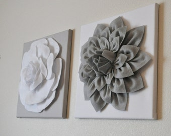 "TWO Wall Flowers -Gray Dahlia on White and White Rose on Gray- 12 x12"" Canvas Wall Art- Baby Nursery Wall Decor-"