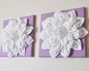 "TWO Wall Flowers -White Dahlia on Lilac 12 x12"" Canvas Wall Art- Baby Nursery Wall Decor-"