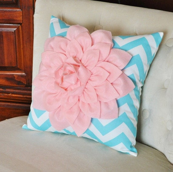 items similar to light pink dahlia on aqua and white zigzag pillow decorative chevron pillow. Black Bedroom Furniture Sets. Home Design Ideas