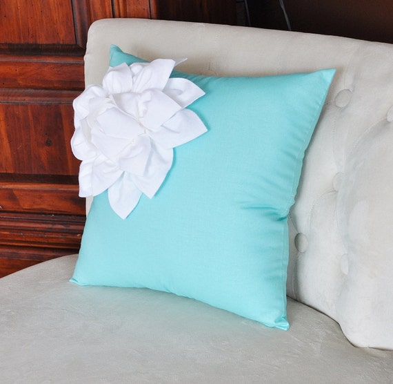 Pool Blue Throw Pillows : White Corner Dahlia on Bright Aqua Pillow 16 X 16 Pool Blue