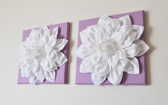 "TWO Wall Flowers -White Dahlia on Lilac 12 x12"" Canvas Wall Art- Baby Nursery Wall Decor-"