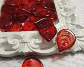 Red Glass Leaf Beads...16pcs