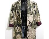 MOVING SALE Vtg 90s Tropical Leaf Bold Print Blazer Jacket Sz 6 S-M
