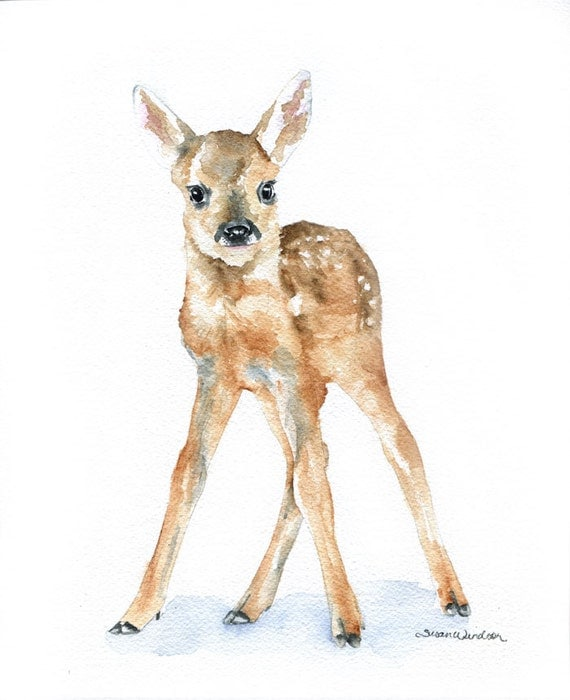 Deer Fawn Watercolor Painting Giclee Print 5x7 Nursery Art