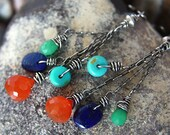 FREE SHIPPING---Carnelian Chrysoprase Turquoise Lapis Dangle Earrings---FIESTA---Sterling Silver---Creations by Sandy