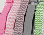 Adjustable Elastic Headband Hair Band Girl Baby Woman Headband Sport Headband- 5 In Set Pink Grey Green