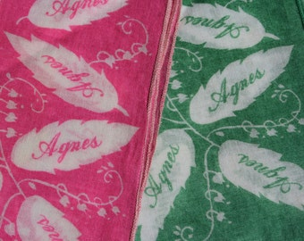 2 Vintage Hankie Handkerchiefs Lily of the Valley Pink and Green Agnes
