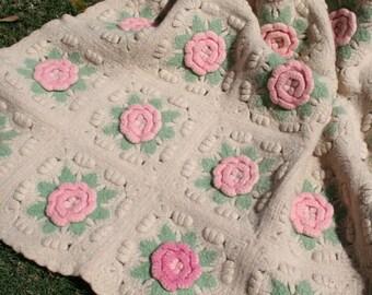 Vintage Wool Blanket Crochet Blanket with Pink Roses Baby Blanket