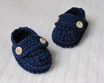 Crochet baby loafer booties, crochet baby booties, blue baby booties, baby loafers, 0 to 3 months, baby boy booties