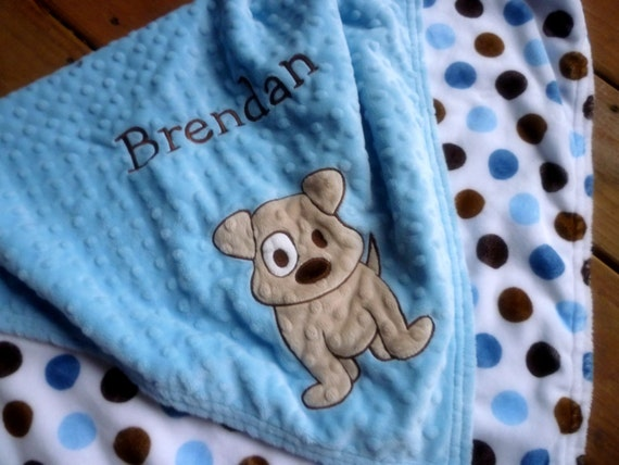 Personalized baby blanket- baby blue and brown dot puppy- stroller blanket