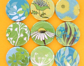 Magnets - Modern Green Floral Button Magnets - Set of Nine 1.25 Inch Button Magnets Packaged in a Custom Box