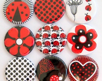 Ladybug Magnets - Set of Nine 1.25 Inch Button Magnets Packaged in a Custom Box
