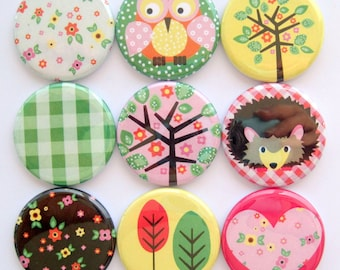Magnets - Woodland Cuteness - Button Magnets - Set of Nine 1.25 Inch Button Magnets Packaged in a Custom Box