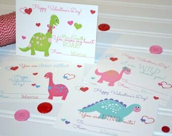 Dinosaur Valentine's Day Cards - Card Exchange - Dinosaur Personalized Kids Valentine's Day Cards Set of 24 plus 2 Bonus Teacher Cards