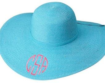 Ladies' Monogrammed Aqua Floppy Sun Hat