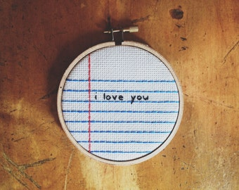 Notebook Lined Paper Cross Stitch Embroidery Wall Hanging 'i love you' Hoop