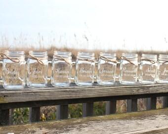 18 Mason Jars Mugs, Personalized Mason Jar Mugs, Engraved Mason Jar Mugs, Bridal Party gifts, Party Favor, Wedding Favor, Wedding Keepsake