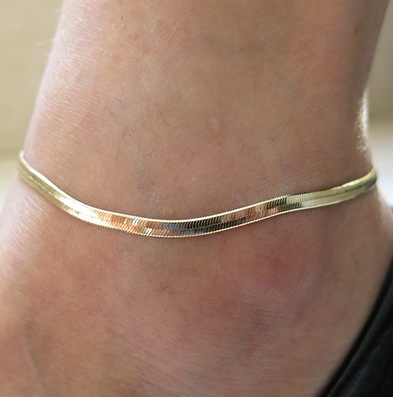 gold anklet gold chain anklet Herringbone anklet by sohocraft