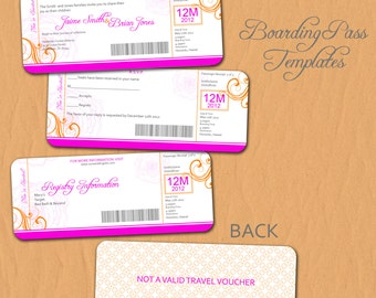 0715 Boarding Pass Destination Wedding Invitation or Save the Date Template - Vol 2