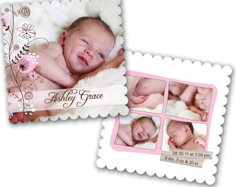 INSTANT DOWNLOAD - Birth announcement photo card template, Luxe card - 0208