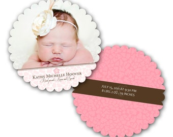 INSTANT DOWNLOAD - Birth announcement photo card template, Luxe card - 0287