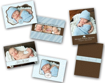 INSTANT DOWNLOAD - Birth announcement photo card templates, 3 pack - 0291-3