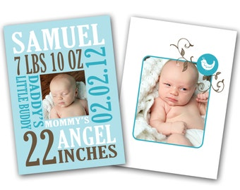 INSTANT DOWNLOAD - Birth announcement photo card template, 5X7 card - 0323