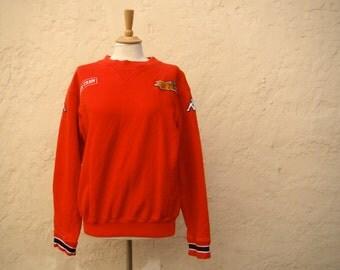 Vintage /  RED / Denmark / Stage Crew / Sweatshirt / LARGE