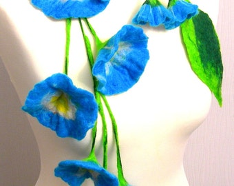 Felted Flower, Hand Felted, Wool Jewelry felted  scarf/ necklace and  earrings
