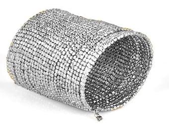 SILVER CUFF Bracelet,beaded Cuff bracelet Long Cuff bracelet ,Womens bracelet ,Mothers day Gift, Silver Cuff bracelet Taneesi