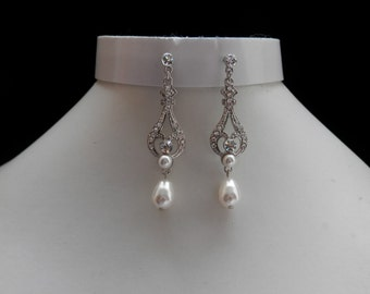 Bridal Chandelier Earrings, Swarovski Pearl Earrings, Rhinestone Earrings, Bridesmaids Earrings (E3084)