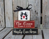 Disney Mickey Mouse Wedding Family Personalized Established Happily Ever After wood block set sign christmas anniversary  gift