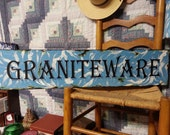 Hand painted Graniteware sign for primitive and folk art colloctors of graniteware and enamel wares.