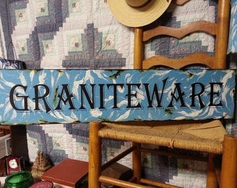 Graniteware sign, enamel ware and granite ware collectors sign, primitive decor