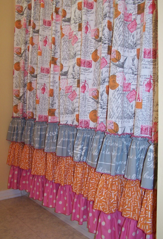 Pink Orange Grey on White Shower Curtain with Ruffles, Ruffles Ruffles ...