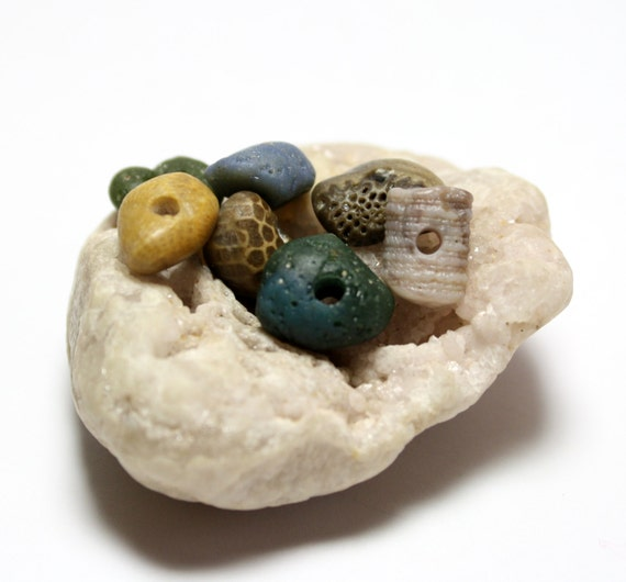 "Crinoid Fossil Beach Stone Jewelry- Blue Slag Glass Petoskey Spacers Supplies- ""Little Gems"" by Allybeans"