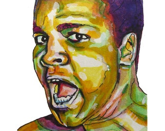 Boxing Legend Muhammad Ali Painting Reproduction Print 11 x 8.5