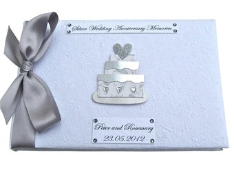 Personalised Silver Wedding Cake Guest Book