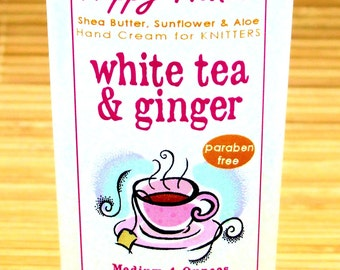 White Tea & Ginger Spa Scented Hand Cream for Knitters - 2oz Travel Size HAPPY HANDS Shea Butter Hand Lotion