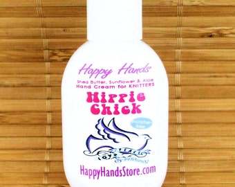 Hippie Chick Patchouli Scented Hand Cream for Knitters - 1oz Refillable Tottle HAPPY HANDS Shea Butter Hand Lotion Paraben Free