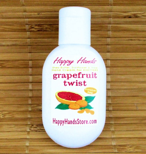 Grapefruit Tangerine Scented Hand Cream for Knitters - 1oz Refillable Tottle HAPPY HANDS Shea Butter Hand Lotion