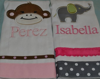 set of 2 personalized monogrammed burp cloths in pink monkey and elephant