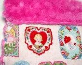 Baby Girl Comfort Blanket - 18 x 20 - Mini - Minky - Art Deco Valentine