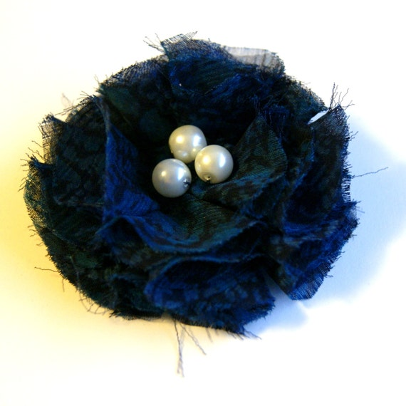 Navy Blue Fabric Flower Pin