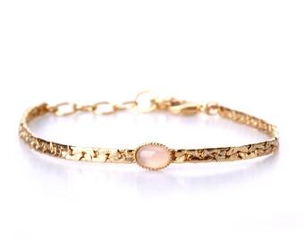 handmade delicate chain Bracelet- with natural Rose Quartz 24k gold-plated brass- Romantic Bracelet