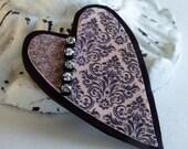 ARTSY HEART Brooch Pendant / Heart Pendant Pin / Artisan Polymer Clay Jewelry / Keepsake Heart Pin / Shabby Chic Jewelry