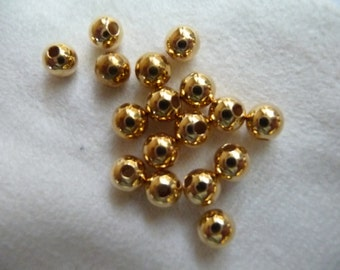 Bead, Gold Plated, Brass, 5mm, Smooth Round, Pkg Of 16