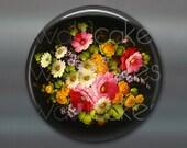 "3.5"" floral fridge magnet, russian trays flower decor, kitchen decor, large magnet, stocking stuffer MA-326"