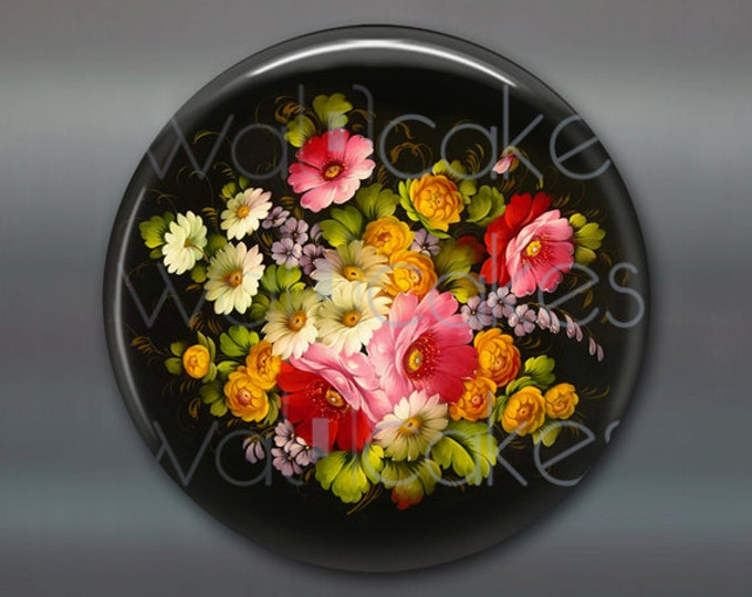 "3.5"" floral fridge magnet, russian trays flower decor, kitchen decor, large magnet, stocking stuffer MA-326"