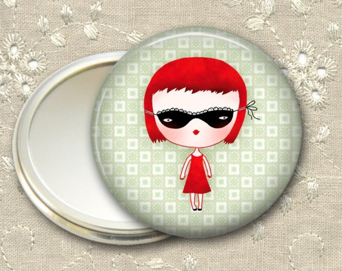 cute girl pocket mirror,  red haired girl art hand mirror, mirror for purse, bridesmaid gift, stocking stuffer  MIR-105